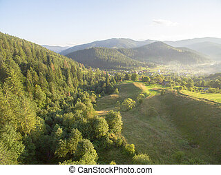 Aerial View of Great Green Ridge Wooded Mountain Landscape
