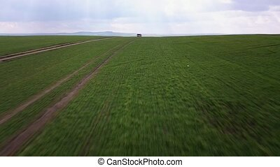 Aerial view of green fields and and a truck driving on a...