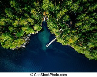 Aerial view of green forest, blue lake and wooden pier with boats in Finland.
