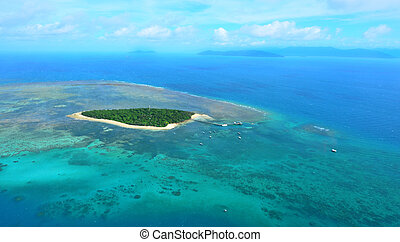 Aerial view of Green Island reef at the Great Barrier Reef...
