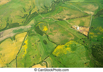Aerial view of green meadows in Sardinia