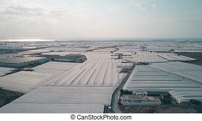 Aerial view of greenhouses - Aerial shot of huge greenhouse...