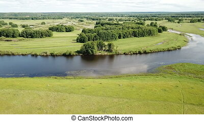 Aerial view of gulf meadows in the floodplain of the Oka River in Russia