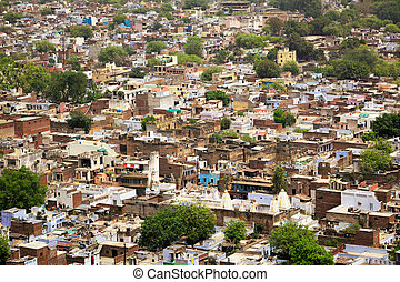 Aerial view of Gwalior city in India