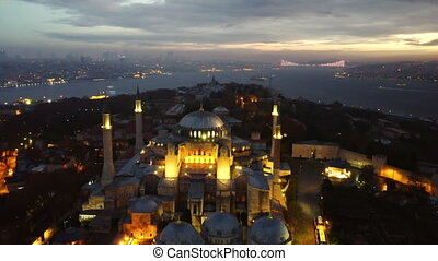 Aerial view of Hagia Sophia mosque and view of Istanbul