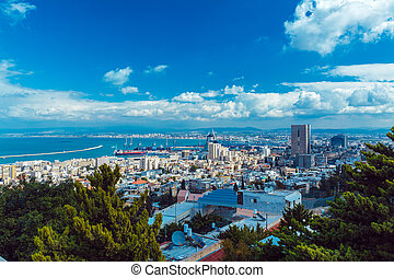 Aerial View of Haifa from Bahai Garden