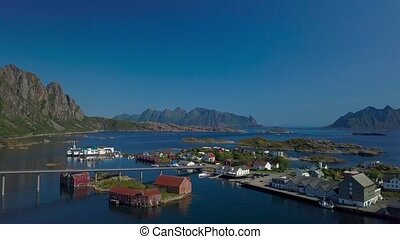 Aerial view of Hamnoy city in Norway