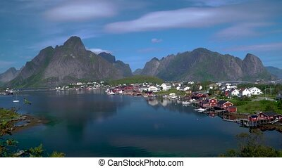 Aerial view of Hamnoy Village in Norway