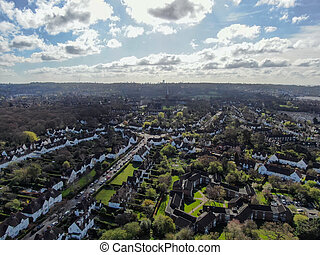 Aerial view of Hampstead Garden Suburb, an elevated suburb of London.
