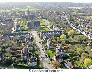 Aerial view of Hampstead Garden Suburb and St. Jude's Church, London