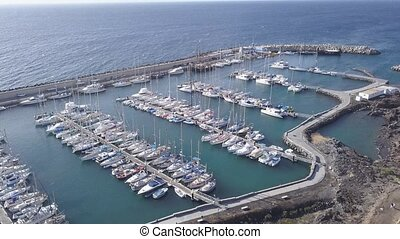Aerial view of harbor Tenerife island Canary Spain drone top view 4K UHD video