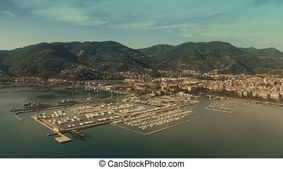 Aerial view of harbour of La Spezia, Italy - Aerial view of...