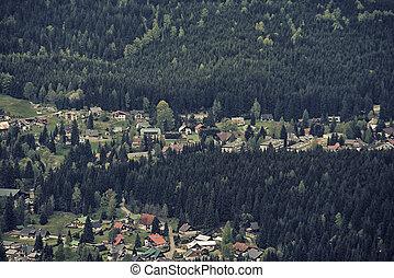 Aerial View of Harrachov, Czech Repiblic, Europe