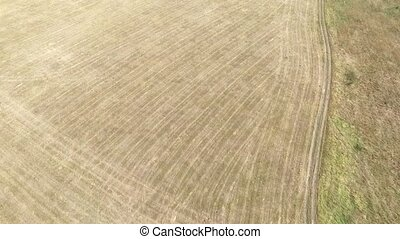 Aerial view of hay bales in agriculture field in rural....