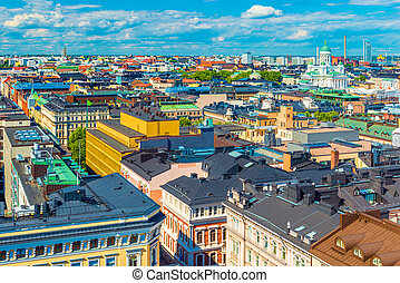 Aerial view of Helsinki with colorful historical buildings and the Cathedral, Finland