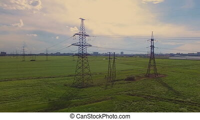 aerial view of high voltage pylons and power lines