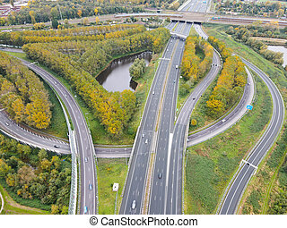 Aerial view of high way intersection crossing, Amsterdam Ther Netherlands