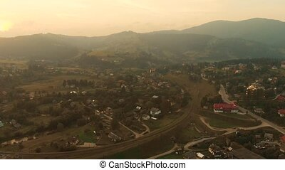 Aerial view of highland town in the Carpathian mountains.