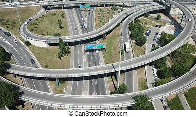 Aerial view of highway grade separation in Barcelona, Spain...