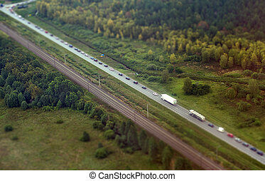 Aerial view of highway in Germany.