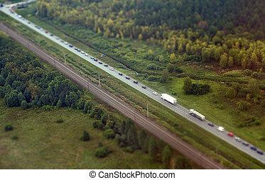 Aerial view of highway in Germany.
