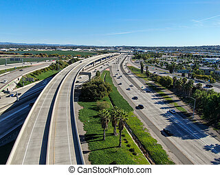 Aerial view of highway interchange and junction in California.