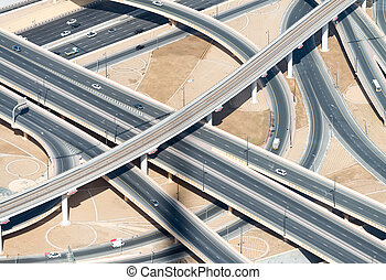 Aerial view of highway interchange of modern urban city