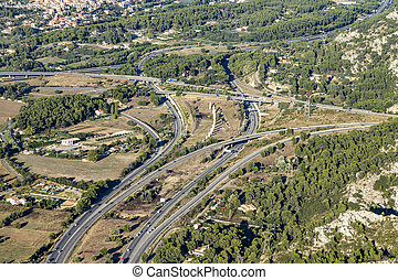 aerial view of highway near Marseille