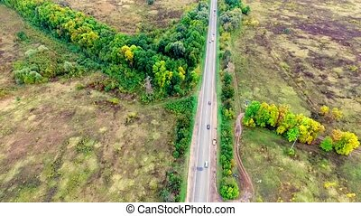 Aerial view of highway on the countryside