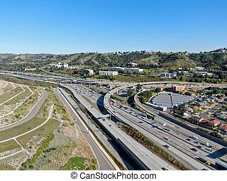Aerial view of highway with vehicle movement in Diamond Bar city, California, USA.