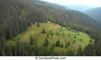 Aerial View of Hillside Farm in Carpathian Mountains