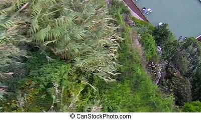 Aerial view of hillside urban area