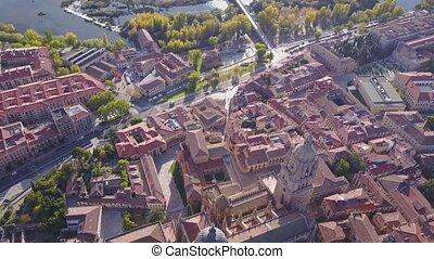 Aerial view of historic cathedral in Salamanca, Castilla and...