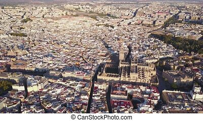 Aerial view of historic city and cathedral of Seville, Spain...