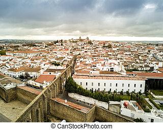 Aerial view of historic Evora in Alentejo, Portugal