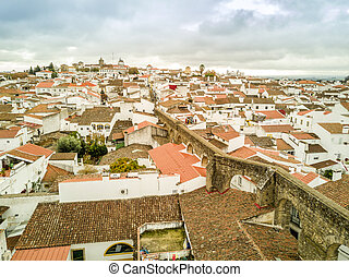 Aerial view of historic Evora in Alentejo, Portugal