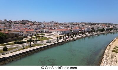 Aerial view of historic Lagos from the coast, south Portugal
