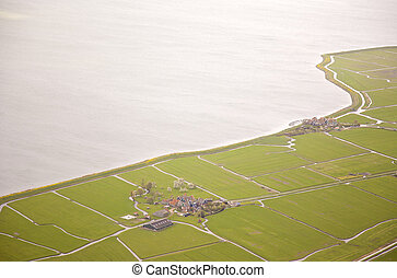 Aerial view of historic Marken island, The Netherlands
