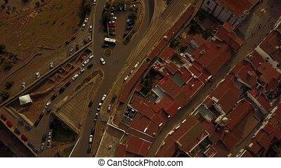 Aerial view of historic Monsaraz in Alentejo, Portugal -...