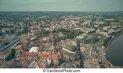 Aerial view of historic part of Dresden, Germany