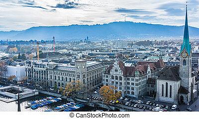 Aerial view of historic Zurich city center