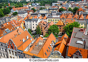 Aerial view of historical buildings and roofs in Polish medieval town Torun, Poland