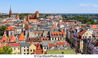 Aerial view of historical buildings of medieval town Torun, Poland. August 2019