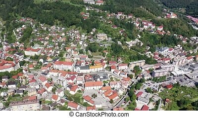 Aerial view of historical center of Idrija, Slovenia - ...