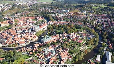 Aerial view of historical centre of Cesky Krumlov town on ...