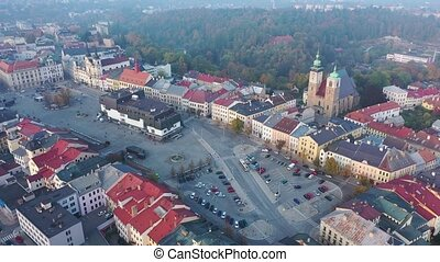 Aerial view of historical centre of Jihlava in autumn day ...