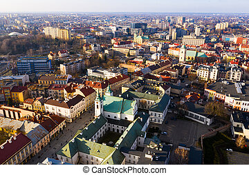 Aerial view of historical part of Rzeszow town at day