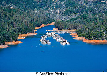 Aerial view of Holiday Harbor on the McCloud River Arm of Shasta Lake, Shasta County, Northern California