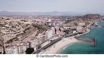 Aerial view of coastline and Santa Barbara castle in Alicante, Spain