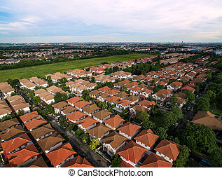aerial view of home village and green environmental in bangkok thailand